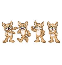 Set cartoon bobcat character vector
