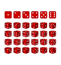 set of 24 icons of dice in all possible turns vector image