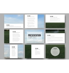 Set of 9 templates for presentation slides Park vector image