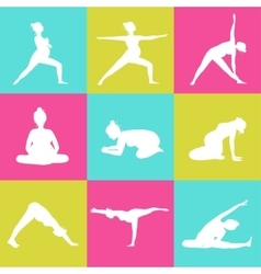 Set of 9 Yoga poses for Pregnant women vector