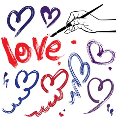 Set of brush strokes and scribbles in heart shapes vector