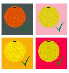 Set of flat orange whole of orange vector