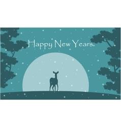 Silhouette or reindeer scenery New Years vector