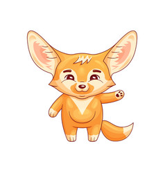 Smiling fennec fox swings its paw with salutation vector