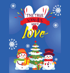 Snowman card merry christmas greeting vector