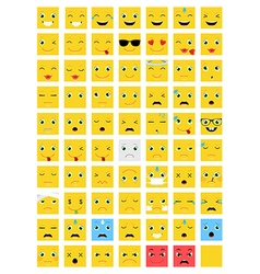 Square Emoticons set vector image