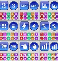 Three MP3 Diagram Apps Flash Palm Shopping cart vector