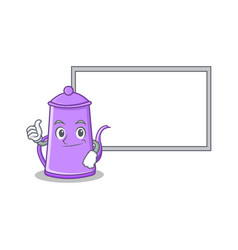 thumbs up with board purple teapot character vector image