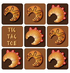 Tic-Tac-Toe of strawberry and chocolate croissant vector image