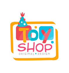 Toy shop logo original design kids store baby vector