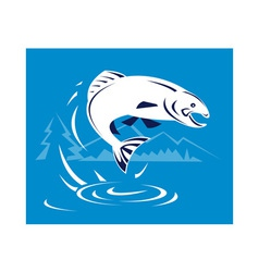 trout fish jumping with mountains vector image vector image