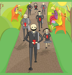 two group of people in the park vector image
