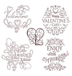Valentines Day set Calligraphic design elements vector image