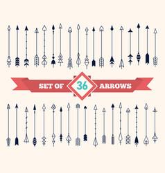 vintage decorative flat arrows set vector image