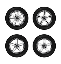 Wheel and tire set for transport or service design vector image
