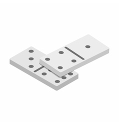 White domino dice with black dots sometric 3d icon vector