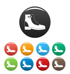 woman boots icons set collection circle vector image