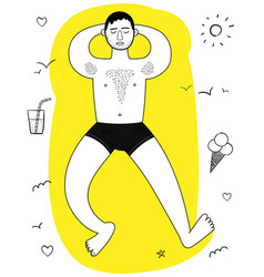 Young man hairy chest sunbathes arms under head vector
