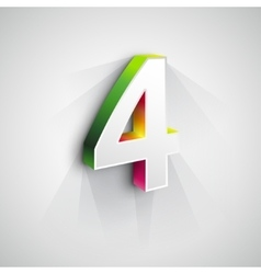 3d Number Four vector image vector image