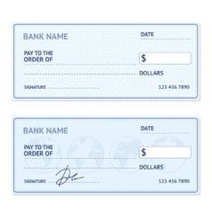 Bank check template set vector