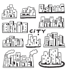 city doodles vector image