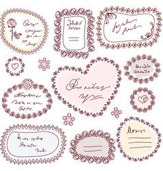 cute doodle floral frame set vector image vector image