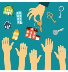 Hands of buyers are drawn to the hand of a real vector image vector image