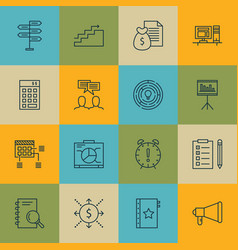 set of 16 project management icons includes board vector image vector image