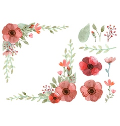 Set of flowers and leaves vector image vector image