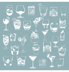 Cocktails set glasses collection drinking whiskey vector image