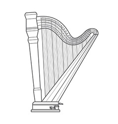 dark outline pedal harp technical vector image vector image