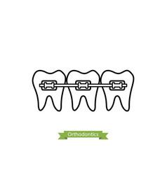 Dental orthodontics treatment - cartoon outline vector