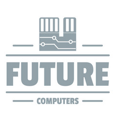 future computers logo simple gray style vector image