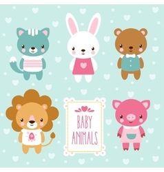 set of cute baby animals vector image