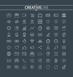 universal thin icons set vector image vector image