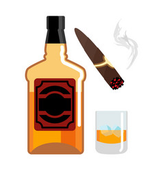 whisky and ice gentleman set bottle of scotch vector image