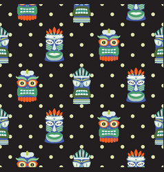 african totem mask seamless polka dot dark pattern vector image