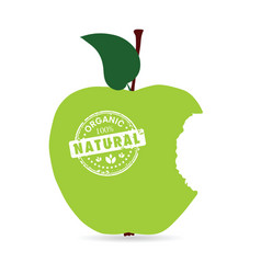 apple organic and natural in green color vector image vector image