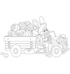 Bunny carries Ester eggs vector image vector image