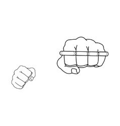 Clenched fists holding brass-knuckle Punch vector image vector image