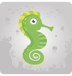 Cute sea horse cartoon vector image