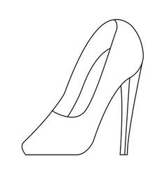 high heel shoe elegance fashion femenine outline vector image