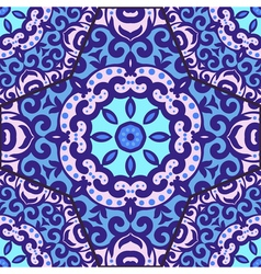 seamless pattern with bright blue ornament Tile in vector image vector image