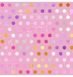 Seamless polka dot pattern on grunge background vector image