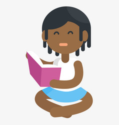 unhappy african girl isolated reading book vector image