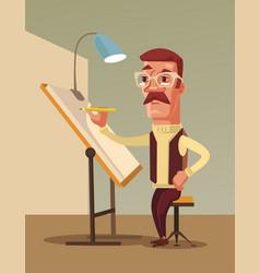 artist man character draws vector image vector image