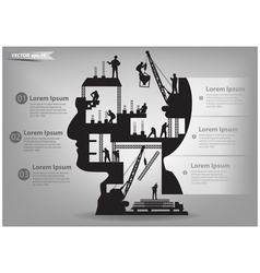 Building construction workers in sIlhouette head vector image vector image