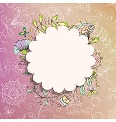 card or invitation with painted flowers vector image vector image