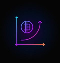 colorful cryptocurrency growth graph outline vector image vector image