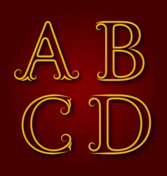 a b c d golden vintage letters with shadow vector image